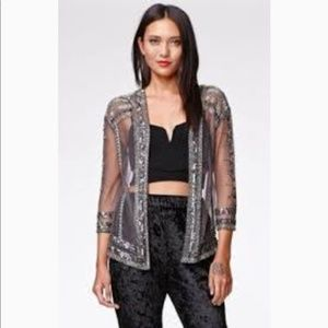 Kendall & Kylie silver beaded jacket/cardigan OS